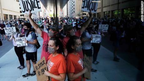 Demonstrators gather in St. Paul, Minnesota on June 5, 2020, to protest he death of George Floyd.