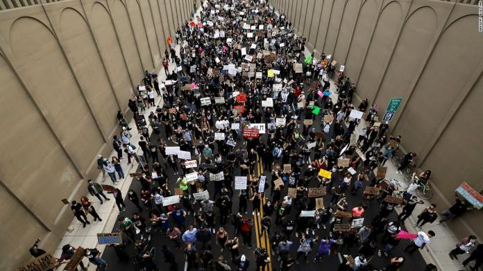 Protesters march in San Diego on June 4.