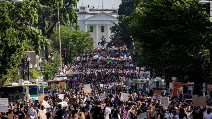 Protesters stretch more than five blocks during a demonstration near the White House on June 6.