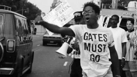 Demonstrators protest outside Los Angeles Police Department Headquarters after the verdict in the Rodney King case.