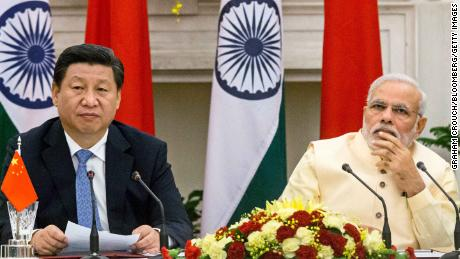 Chinese President Xi Jinping and Indian Prime Minister Modi seen together during a meeting in September 2014.