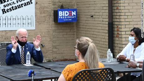 Former vice president and Democratic presidential candidate Joe Biden speaks about reopening the economy during a round table discussion at Carlettes Backyard Bar & Soul food Restaurant in Yeadon, Pennsylvania on June 17, 2020.