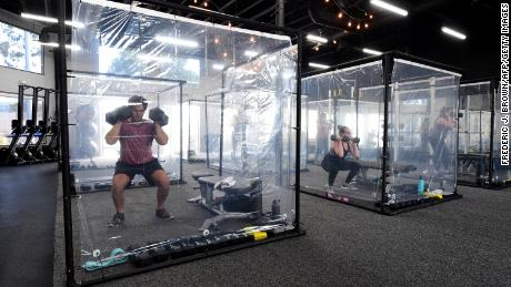 How a California gym is using plastic pods for workouts during coronavirus