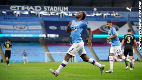 Raheem Sterling ha segnato il primo gol contro l'Arsenal.