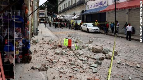 Debris from a building damaged by an earthquake in Oaxaca, Mexico, on Tuesday June 23.