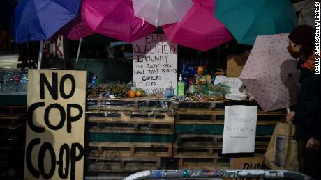 A pop-up shop with free snacks, water and other items is seen June 9 near the Seattle Police Department's East Precinct.