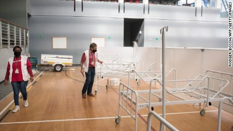 Doctors without Borders, in partnership with the Department of Health, converted this basketball arena in Khayelitsha into a field hospital.