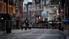 London's West End theater district on a Saturday evening in April.