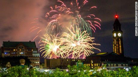 Fireworks light up the sky on June 30 in New York City, part of July Fourth displays in locations around the city that are kept secret to minimize crowds gathering due to the coronavirus pandemic.