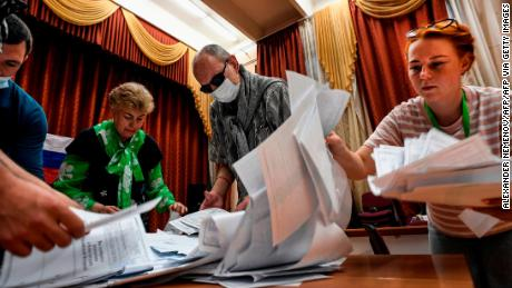 The ballots are counted at a polling station in Moscow on July 1, 2020, after a national constitutional referendum.
