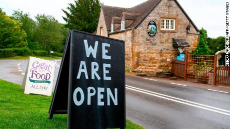 The Plough Inn in Ford, central England welcomes drinkers for the first time in almost four months.