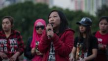 Former Indonesian domestic worker Erwiana Sulistyaningsih speaks during an event in Hong Kong on March 27, 2016.