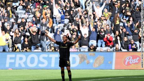 Carlos Vela of Los Angeles FC celebrates his goal against Inter Miami CF.