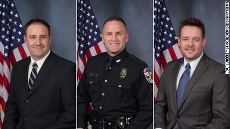Louisville police officers Myles Cosgrove, Brett Hankison and Jonathan Mattingly. Hankison was fired by Louisville's police chief for his role in the shooting.