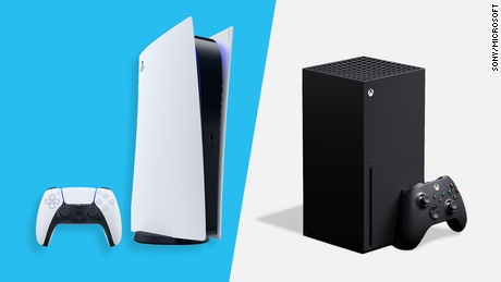 A side-by-side comparison of the PS5 and the Xbox Series X