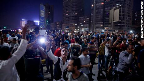 Egyptians protesters call for the removal of President Abdel Fattah el-Sisi in Cairo on September 20, 2019.
