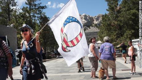 A QAnon supporter at Mount Rushmore National Monument on July 1, 2020 in Keystone, South Dakota.