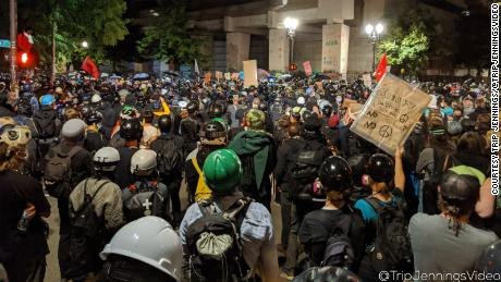 A picture of the tense protests Trip Jennings shot on Sunday.