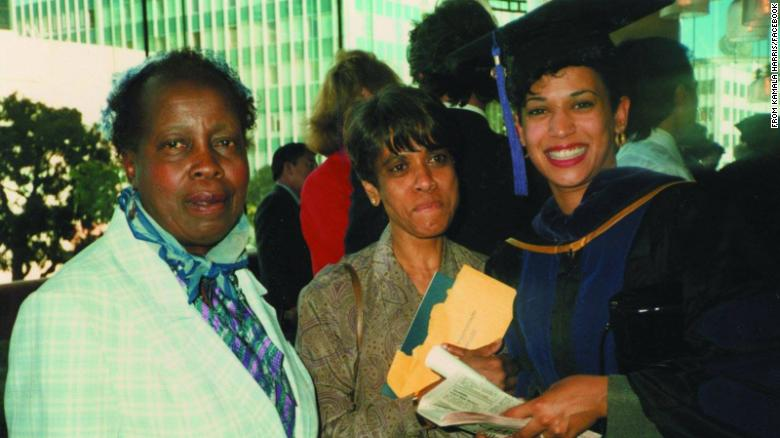 """Harris graduates from law school in 1989. """"My first grade teacher, Mrs. Wilson (left), came to cheer me on,"""" Harris said. """"My mom was pretty proud, too."""""""