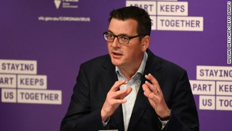 Victoria Prime Minister Daniel Andrews speaks at a press conference in Melbourne on August 2.