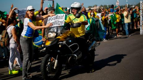 Supporters of President Jair Bolsonaro rally against current Rio de Janeiro Governor Wilson Witzel on May 31, 2020 in Rio de Janeiro, Brazil.