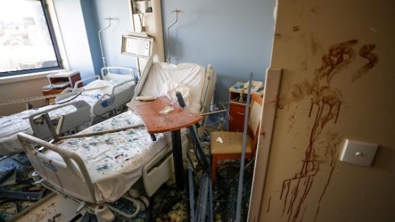 A damaged hospital room is seen on August 5, 2020.
