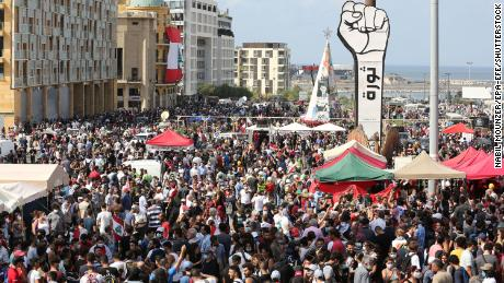 Thousands of people joined the protests in central Beirut.