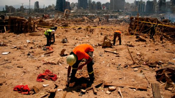 Volunteers conduct research at the explosion site on August 8, 2020.