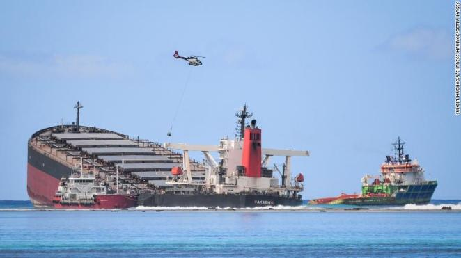 The MV Wakashio ran aground at Pointe d'Esny, east of the island nation of Mauritius.
