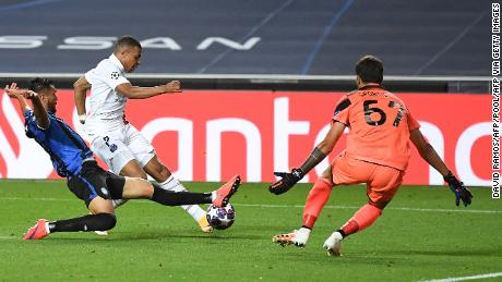 Mbappe is denied in front of goal during PSG's Champions League quarterfinal against Atalanta.