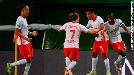 Tyler Adams celebrates after scoring the winner against Atletico Madrid.
