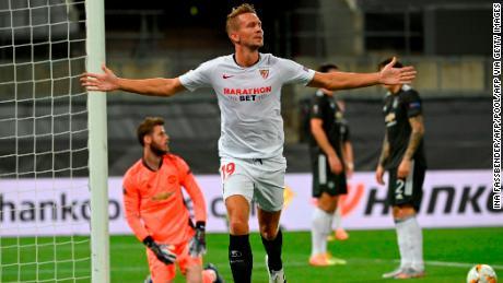 Luuk de Jong celebrates scoring against Manchester United.