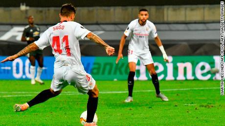 Suso scores against Manchester United.
