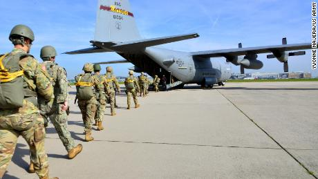 Paratroopers from US Special Operations Commands Africa and Europe board a US Air Force C-130, at Malmsheim Airfield, Germany, May 23, 2019.