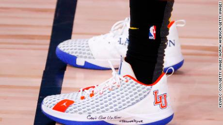 Shoes, worn by Chris Paul, with a tribute to Breonna Taylor.