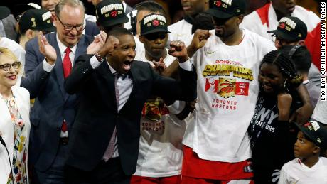 Ujiri celebrates the Raptors' victory  over the Golden State Warriors to win the 2019 NBA Finals.