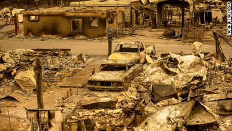 Fire destroyed dozens of homes at the Spanish Flat Mobile Villa in Napa County this week.