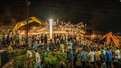 Up to 60 people feared trapped in building collapse in India's Maharashtra state