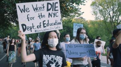 NYC teachers protest school reopenings with mock caskets and skeletons
