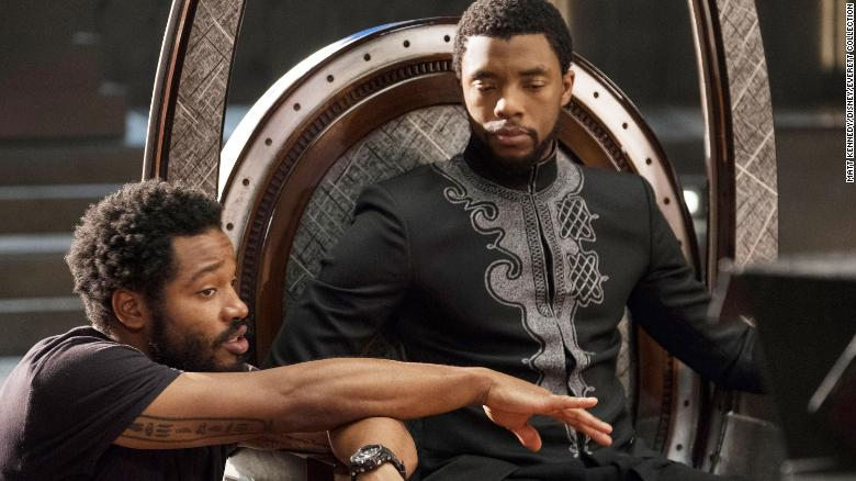 """Director Ryan Coogler and Chadwick Boseman on the set of """"Black Panther"""""""