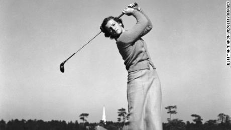 Zaharias practises on Pinehurst's golf links for the exhibition match in New York.
