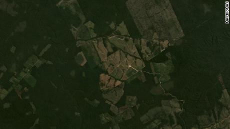 Satellite view of forests in Apui in July 2020 show expanded area of cleared land.