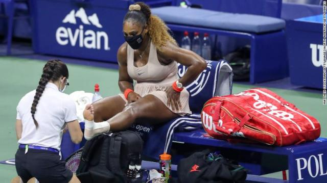 Serena Williams receives a medical timeout Thursday at the US Open.
