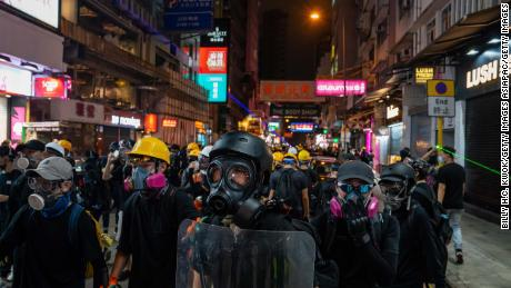 Protestors stand off against riot police Tsim Sha Tsui on August 10, 2019.