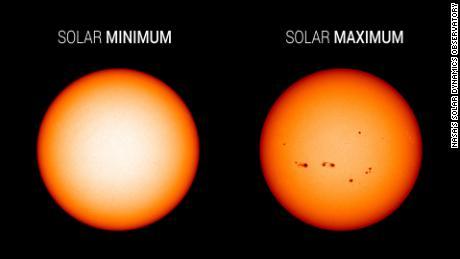 These NASA images highlight how sunspot activity differs at solar minimum (left, December 2019) versus solar maximum (right, July 2014).