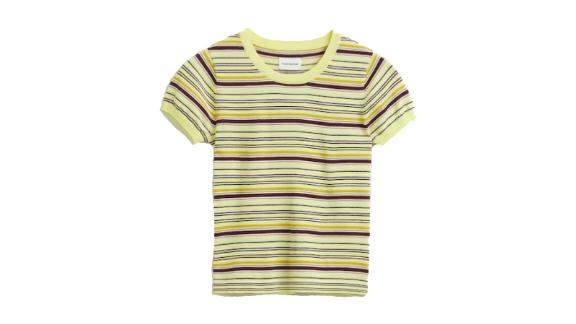 La Coupe Striped Sweater Tee in Pastel Green