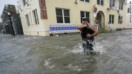 Floodwaters in downtown Pensacola, Florida on Wednesday, as Hurricane Sally hit.