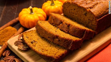 Make your own pumpkin bread with cinnamon and other spices.