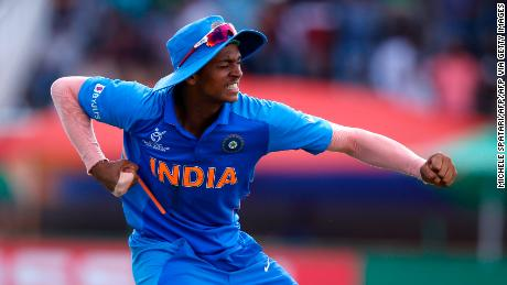 India's Yashasvi Jaiswal celebrates after catching out Bangladesh's Shamim Hossain from a ball delivered by India's Sushant Mishra during the ICC Under-19 World Cup final in February.