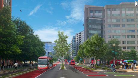 This rendering from Lyft shows how M Street in Southwest Washington, DC could be redesigned to cater to modes other than cars.